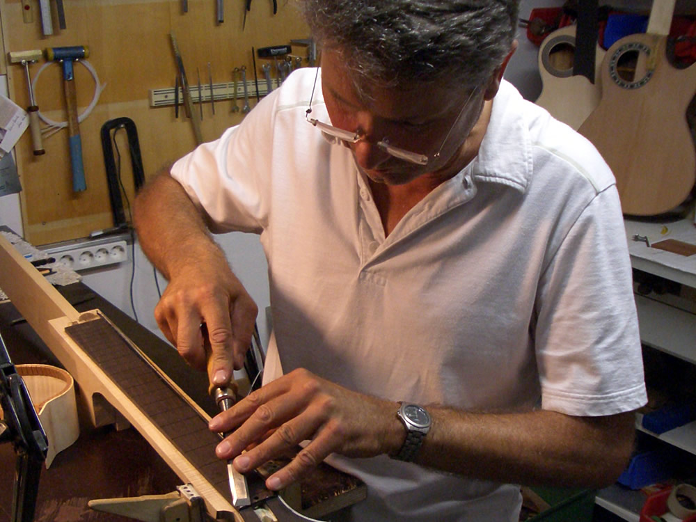 Dietmar Krueger fine tuning profile on a guitar neck and headstock