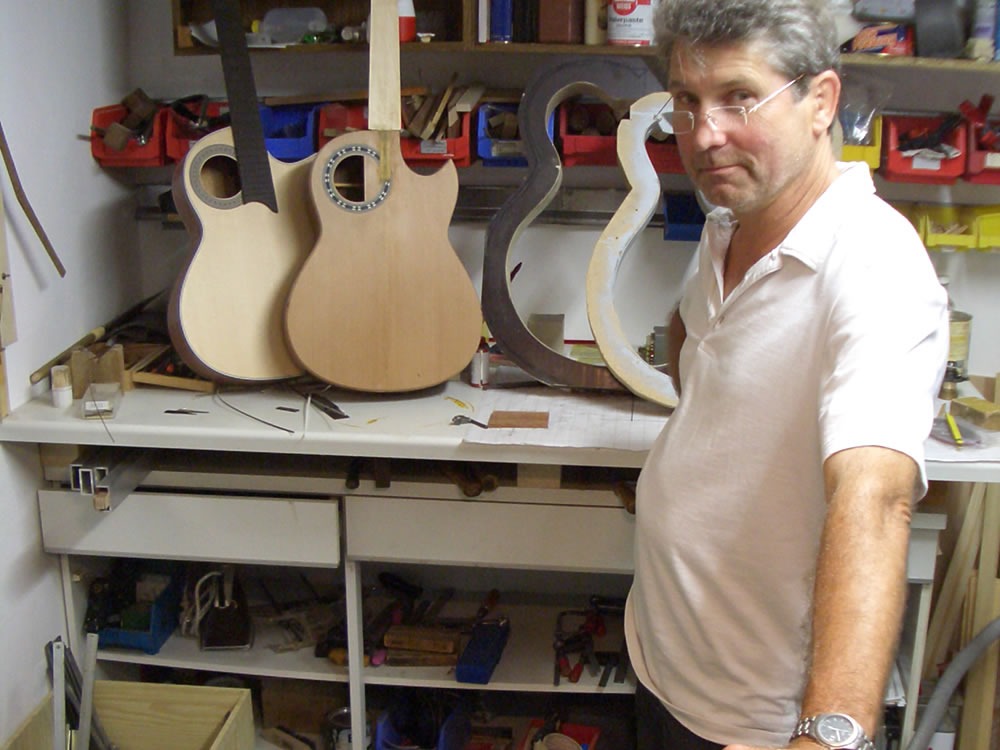 Luthier Dietmar Krueger with guitar bodies