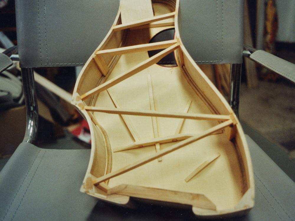 Traveller Deluxe model guitar body and bracing