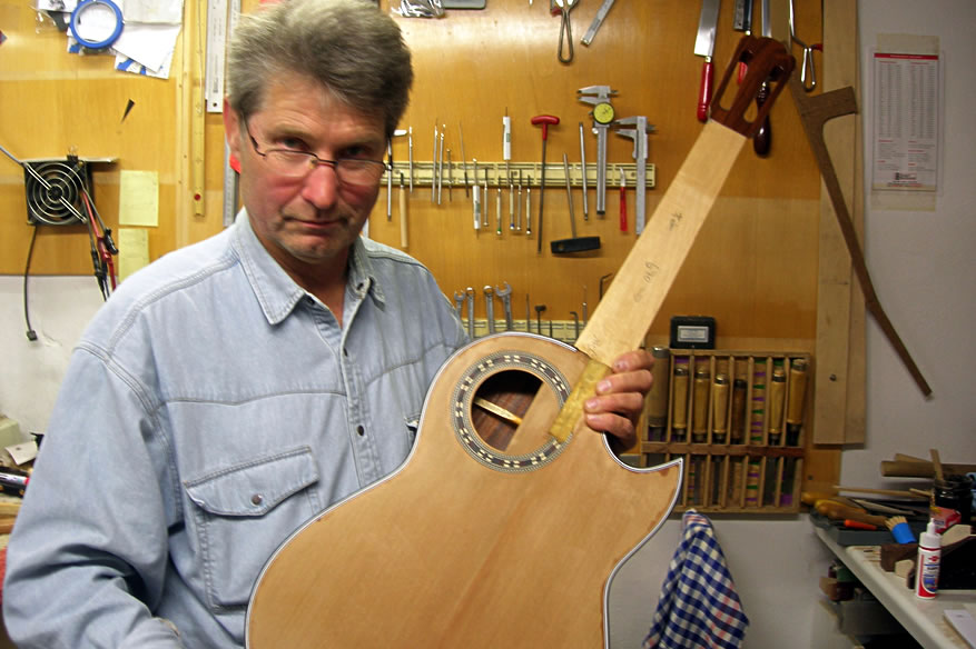 Krueger Guitars Bossa model thinline chambered body classical electro-acoustic guitar development post image