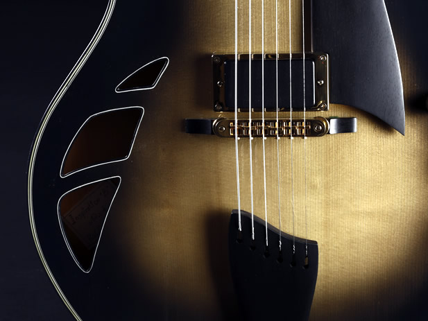 Champagne Smoke thinline model soundholes