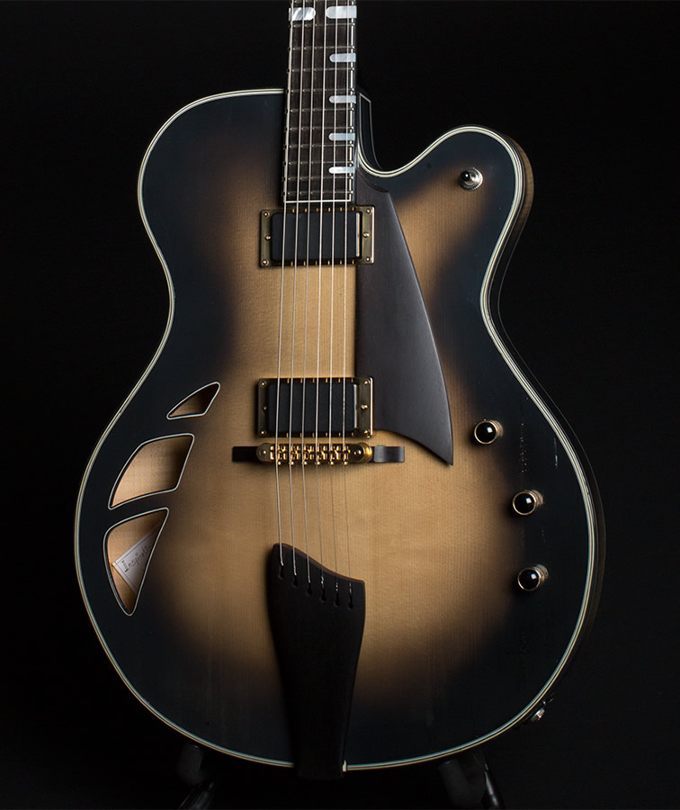 Champagne Smoke thinline body front view