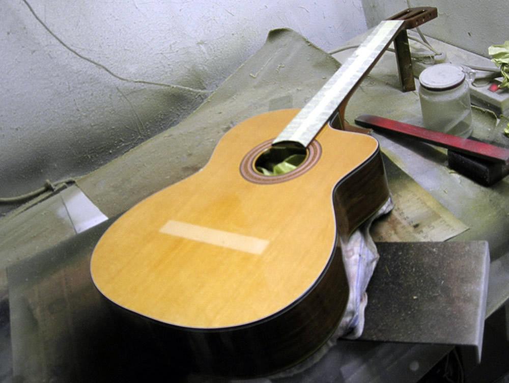Takamine CP 132 CS body prepared for new varnish