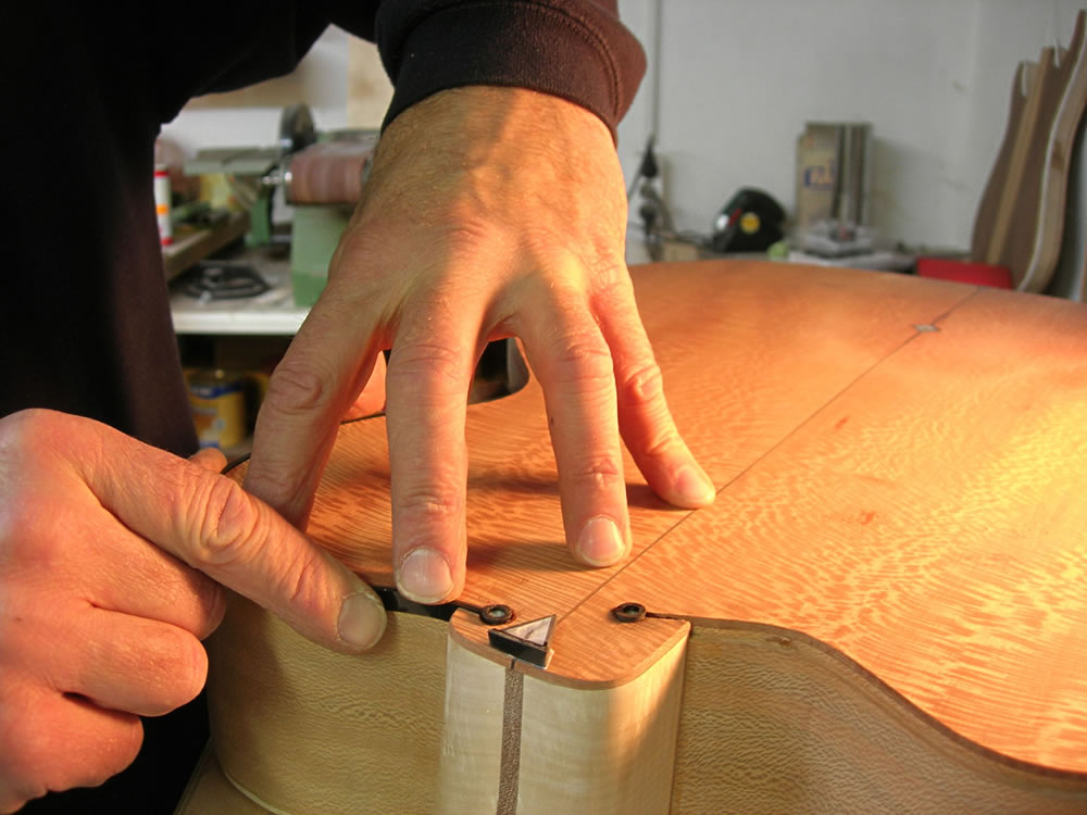 Blondie XII model preparing the body edge for binding creating the neck inlays