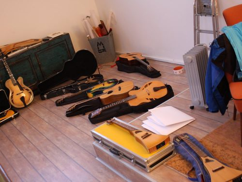 Preparing the instruments for the photo shoot