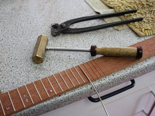 Fretting the neck for the Ukulel-E model