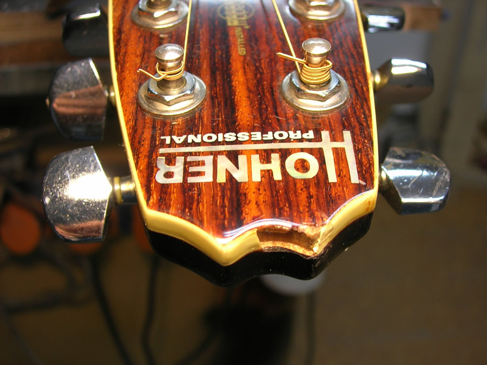 Hohner TWP Western damage to headstock binding