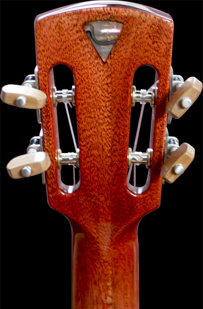 Uku-meine model headstock rear view