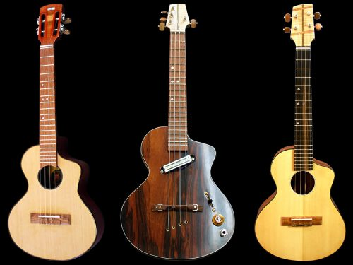 Post story image showing three Krueger Guitars Branded Ukuleles