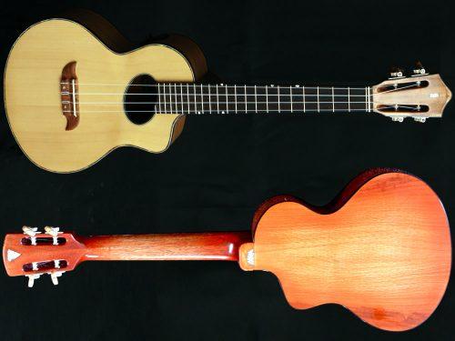 Uwe-lele Tenor Electro Acoustic Front and Back View Image